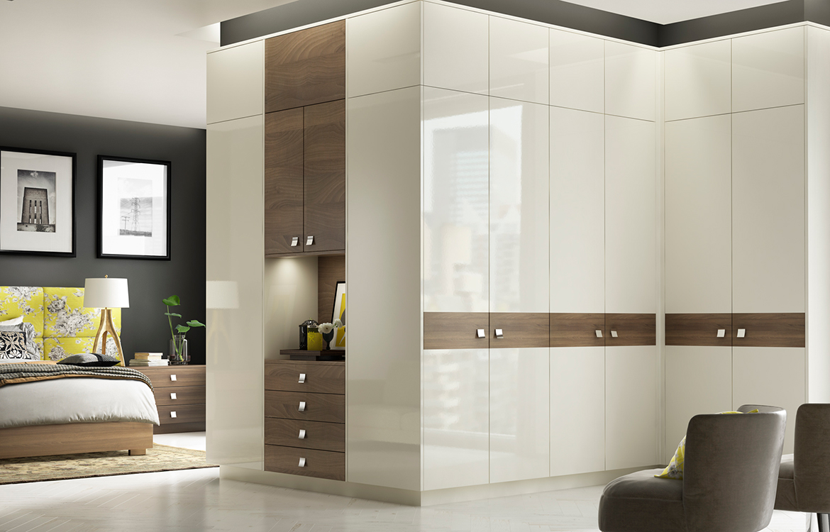 Fitted Bedrooms - Premier 2 :: ivory gloss with dark walnut