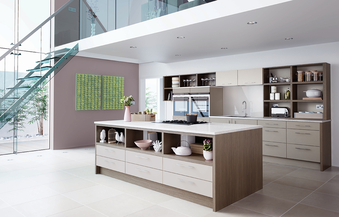 Lastra Fitted kitchen :: Seasoned Oak with Stone Silk and Pumice Painted Veneer