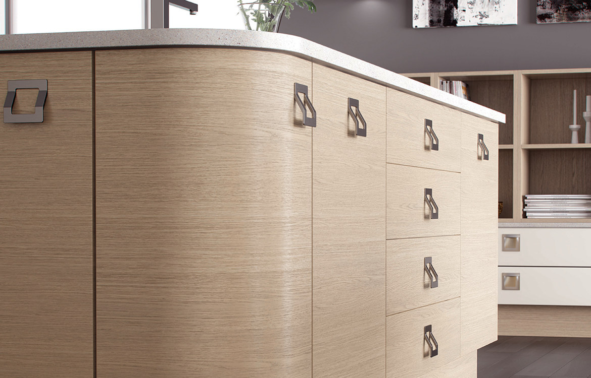 Lastra Fitted kitchen :: Oak Stained Veneer Pumice with Painted Veneer Stonce & Stone Silk - detail 2