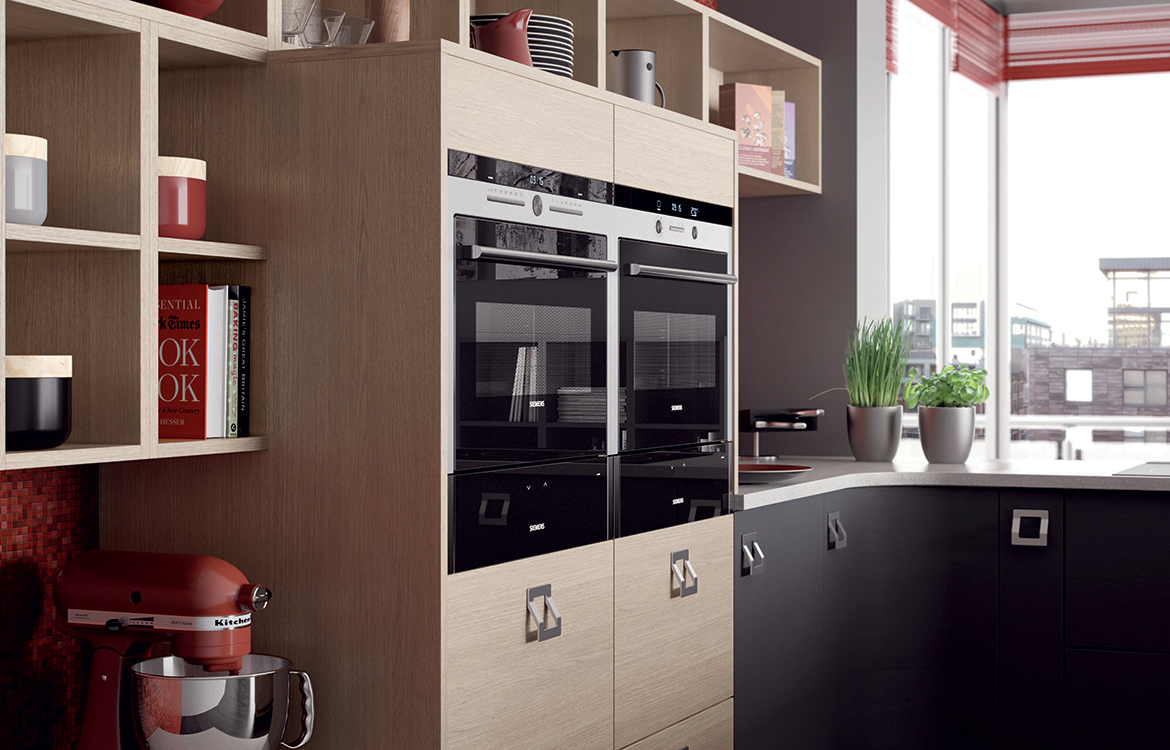 Lastra Fitted kitchen :: Oak Stained Veneer Pumice with Painted Veneer Stonce & Stone Silk - detail 1