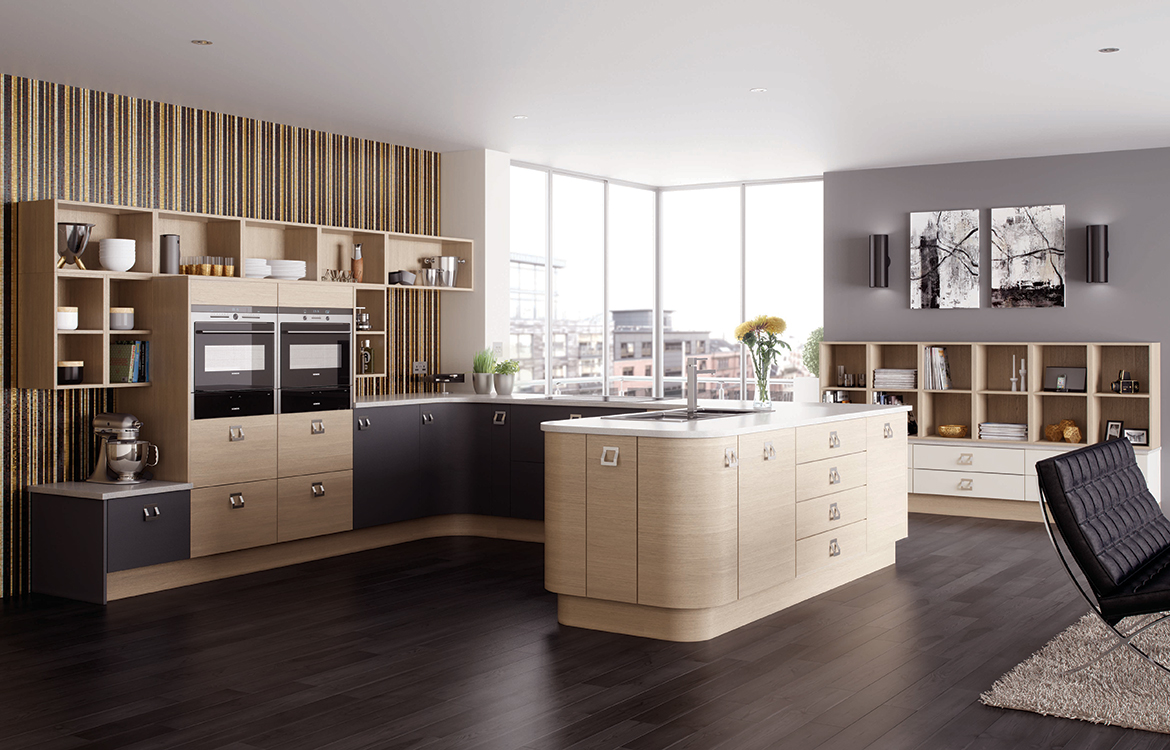 Lastra Fitted kitchen :: Oak Stained Veneer Pumice with Painted Veneer Stonce & Stone Silk