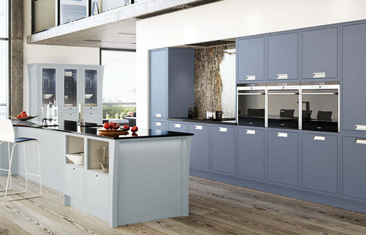 Modern Classic - Hand finished Fitted kitchen :: Dainty Blue & Priory Blue with Chalk White