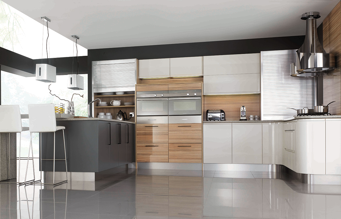 Segreto fitted kitchen :: permagon gloss and coco bolo finish