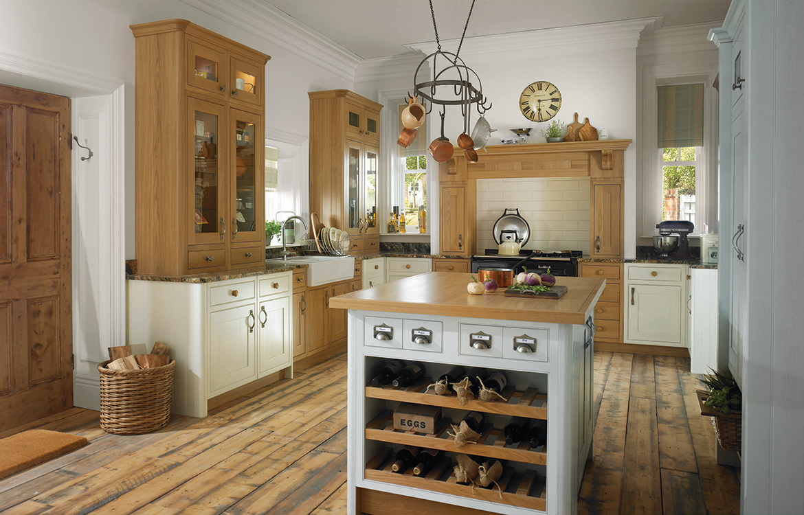 Shaker Pantry hand finished fitted kitchen :: pantry cream pebble blue & natural oak