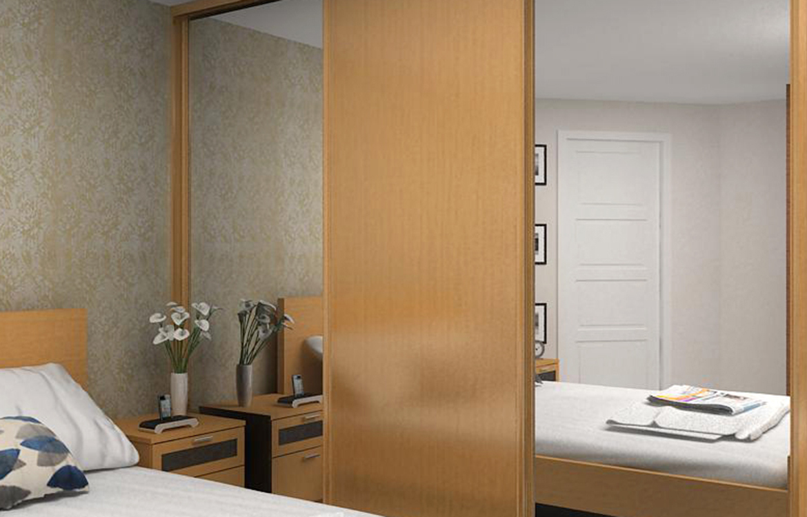 Galaxy sliding wardrobe system :: oak frame mirror