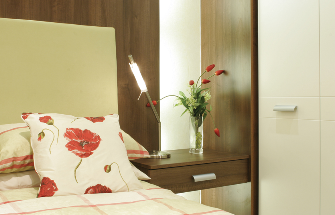 Hinged Wardrobes - Milano :: plain fronted doors with contrasting dark wood
