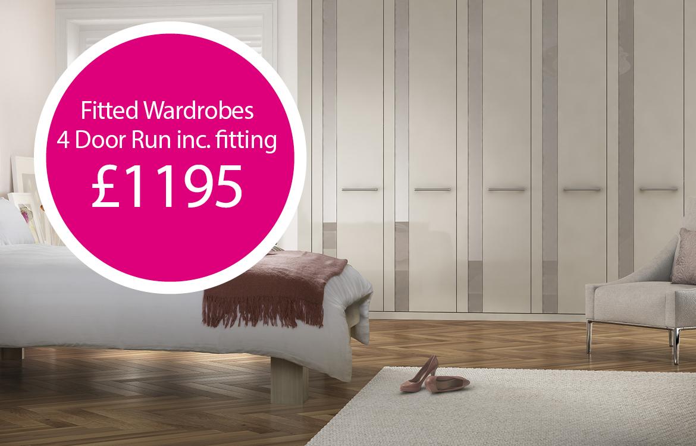 fitted wardrobes - 4 door run £1195